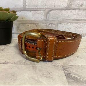 Fossil Vintage Brown Leather Belt Size Large